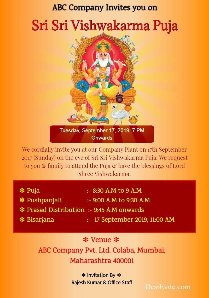 15 Format Of Vishwakarma Puja Invitation Card Sample 2019 And Review Invitation Card Sample Vishwakarma Puja Invitation Cards