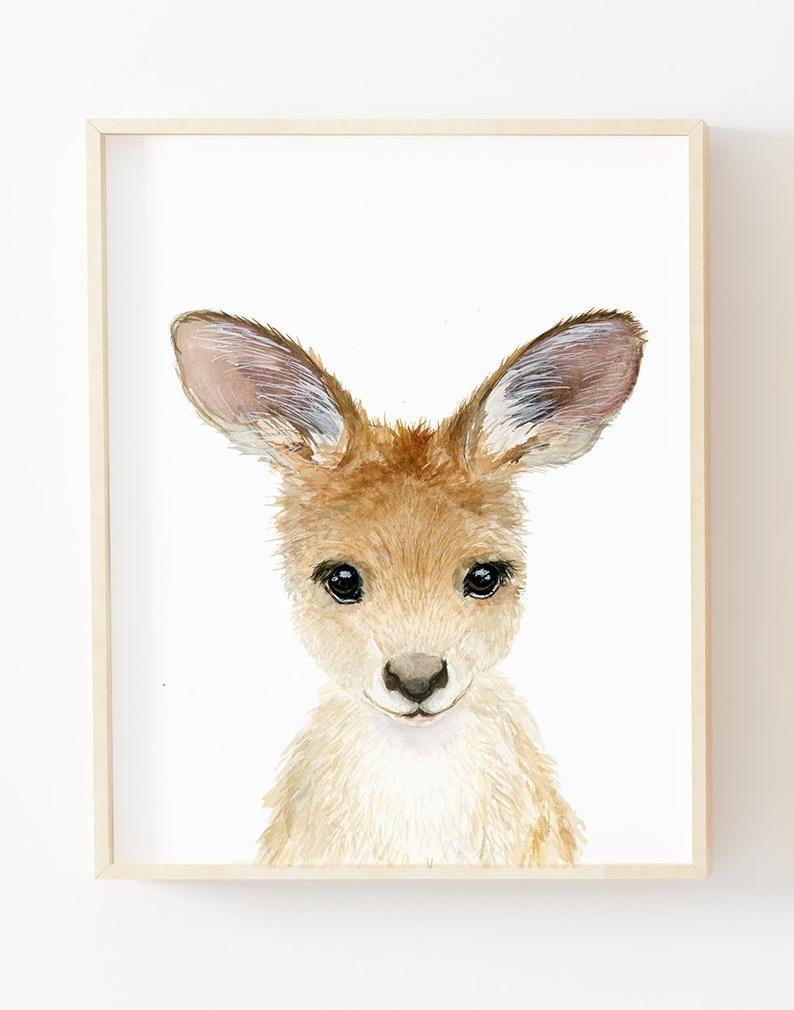 Watercolor kangaroo joey, nursey prints, Australian