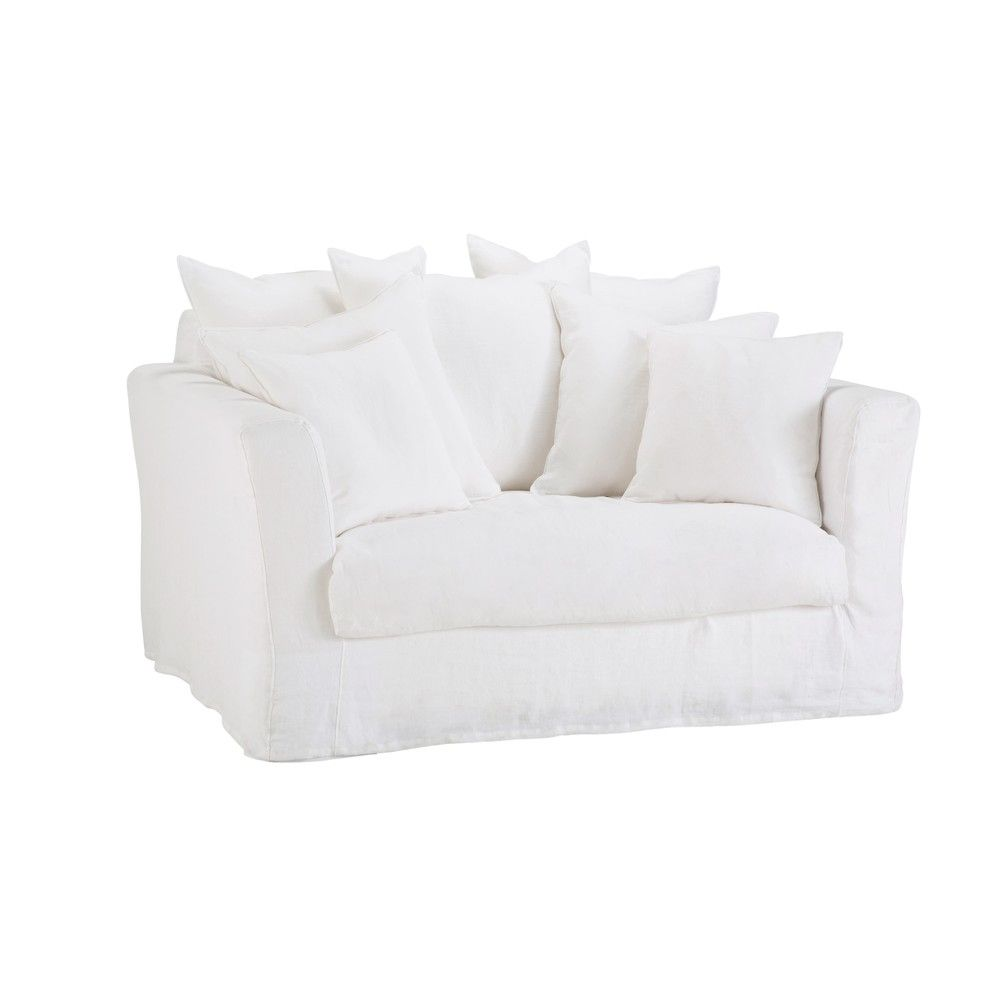 White 1 2 Seater Linen Sofa Bed Maisons Du Monde Canape Lit