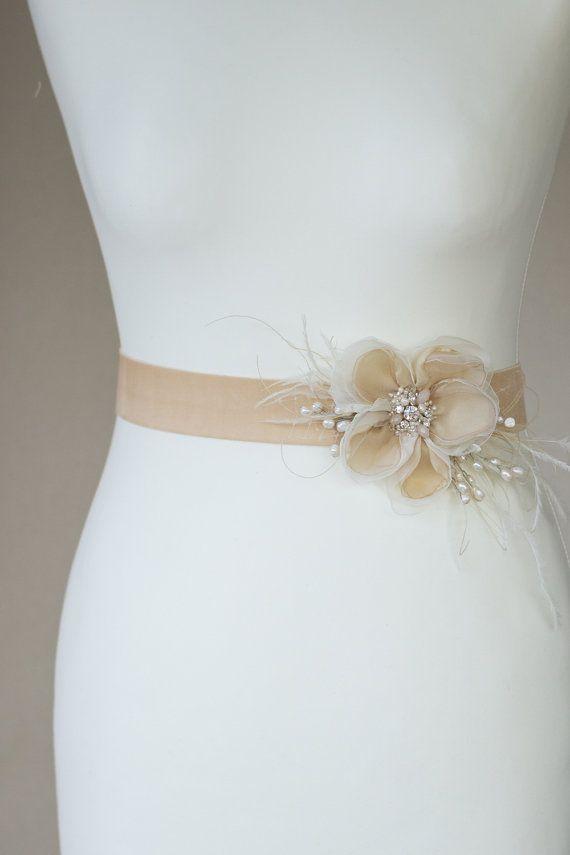 marco nupcial correa correa de vestido de novia cinturones | flores