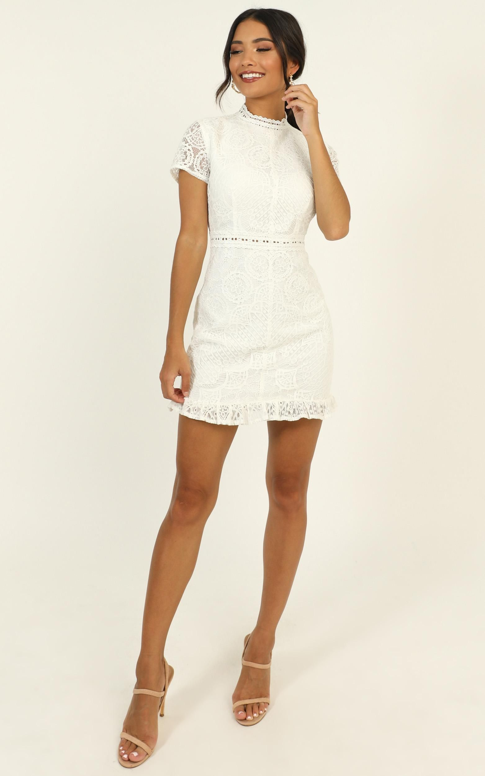 Everything Is Fabulous Dress In White Lace Showpo In 2020 White Short Dress White Dress Cute White Dress [ 2500 x 1563 Pixel ]