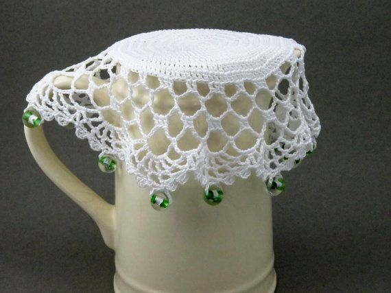 White Crochet Beaded Jug Cover With Green Beads Beaded