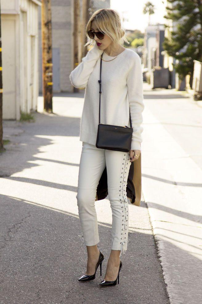 471c031df622 Isabel Marant H M White Lamb Nappa Leather Lace Up Pants