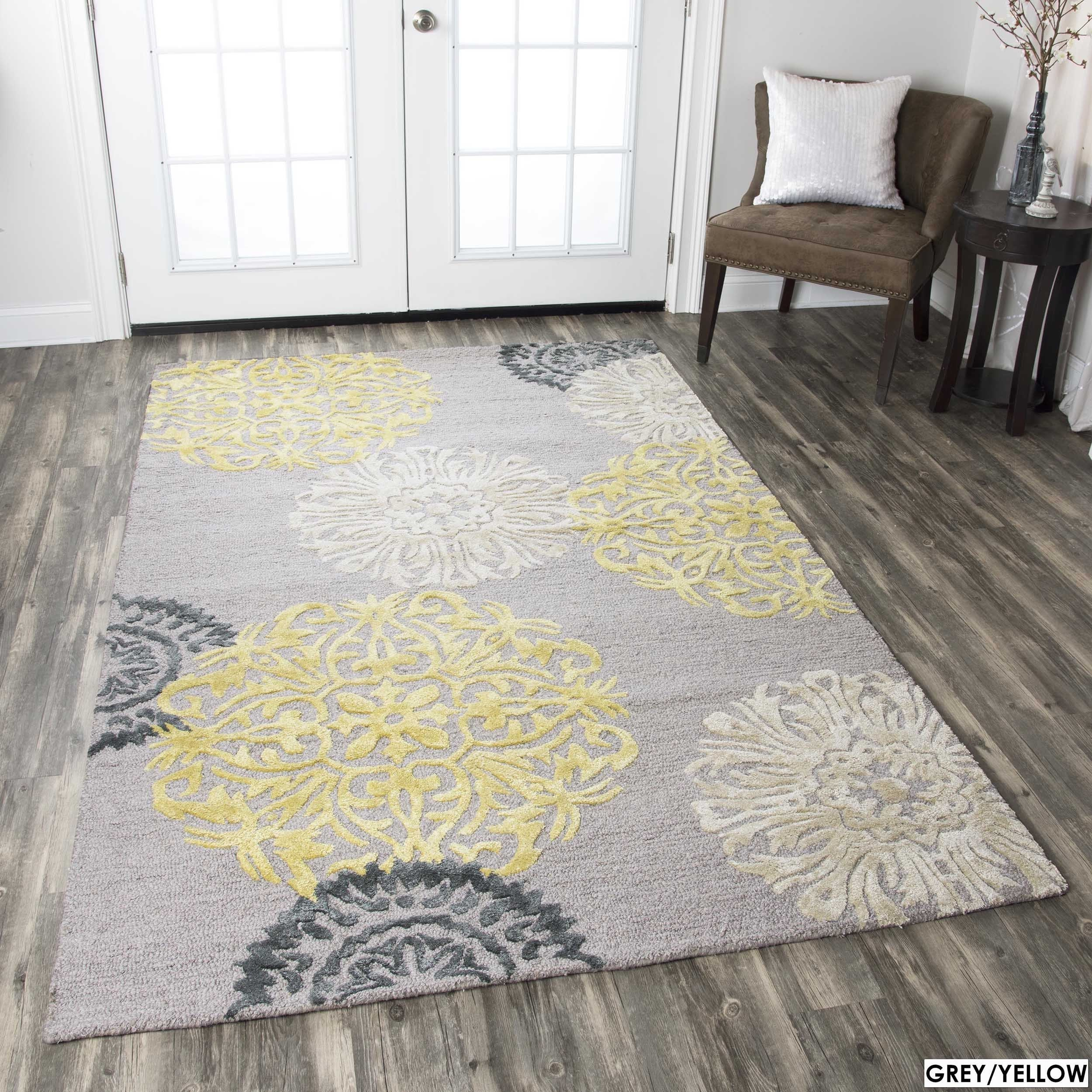 Hand Tufted Floral Wool Grey Navy Yellow Rug 5 X 8 With