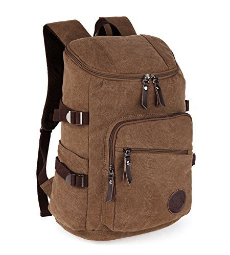 0941a0bcbb Canvas Backpack Travel Bag Retro British Style Casual Rucksack in Sports  and Outdoors   Want to