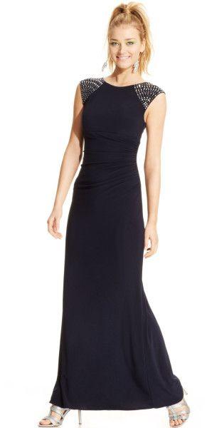 863420da Women's Blue Capsleeve Beaded Ruched Gown | Marilyn A Rivera yarn ...