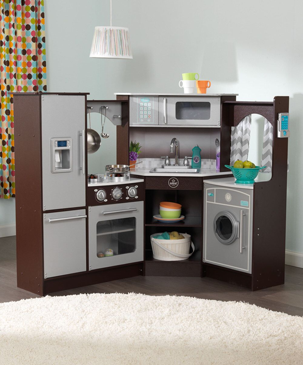 Look at this kidkraft espresso ultimate corner play kitchen on