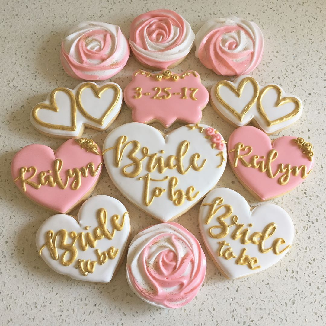 bridal shower cookies in pink white and gold thanks rachel for the order