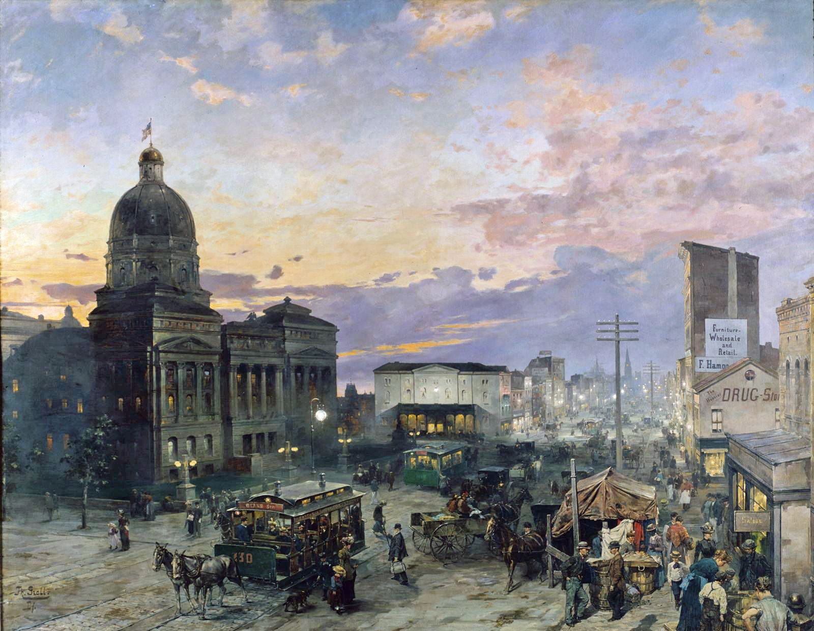 Indianapolis | Theodor Groll Washington Street Indianapolis At Dusk 1892 95