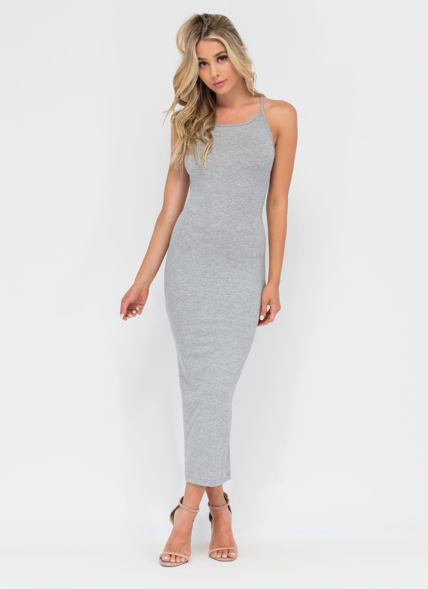 Daily essential ribbed tank dress black hgrey royal olive