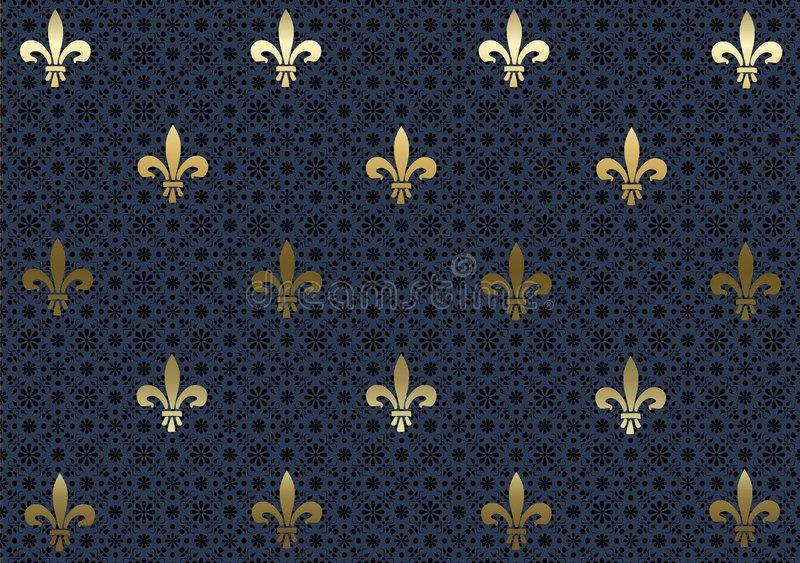 Dark Blue Fleur De Lis background wallpaper. An