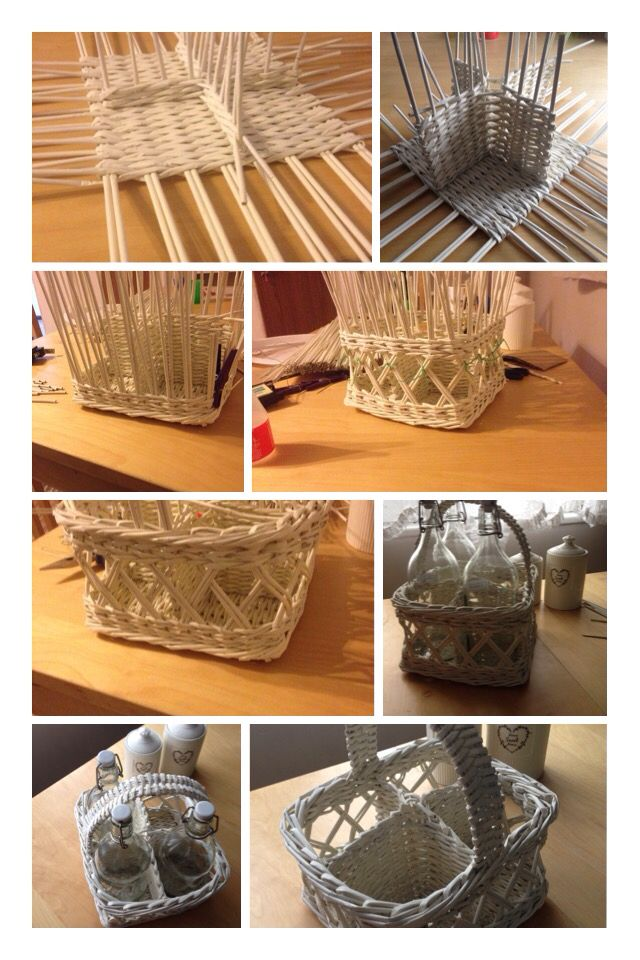 paper basket craft basket woven from paper rolls gt basket for 4 bottles 2608