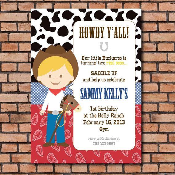 PRINTABLE cowboy invitation DIY western birthday invitation by