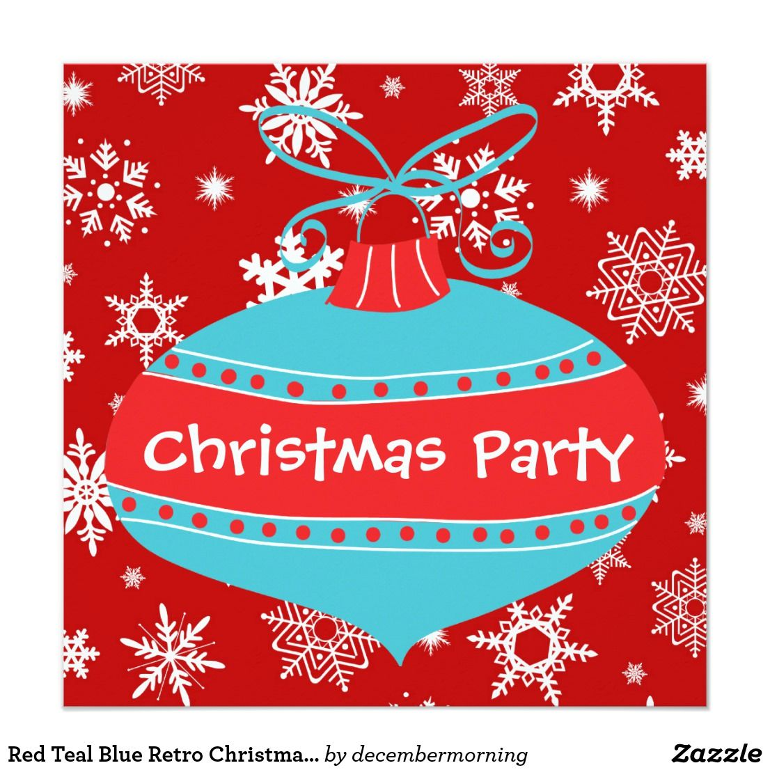 Red Teal Blue Retro Christmas Party | Christmas Party Invitations ...