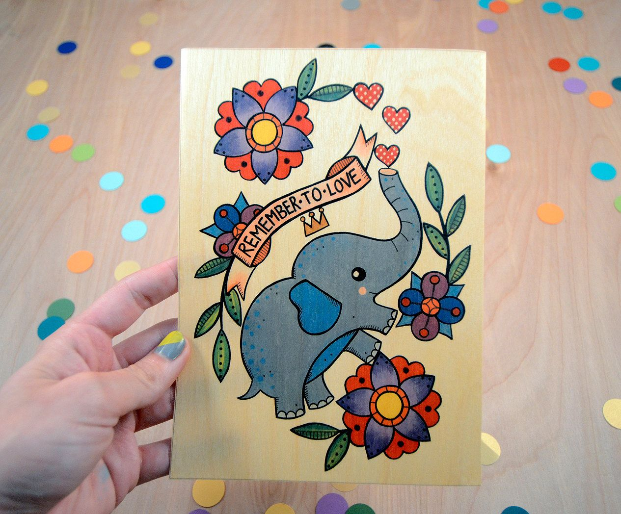 Remember to love elephant high quality art print on wooden paper