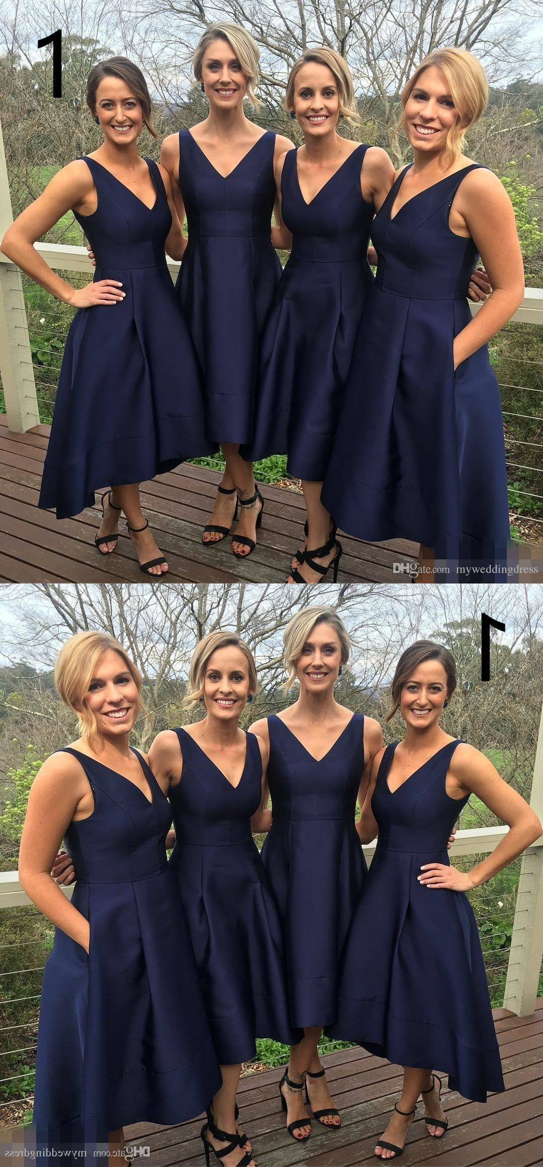 A-line High Low V-neck Long Navy Bridesmaid