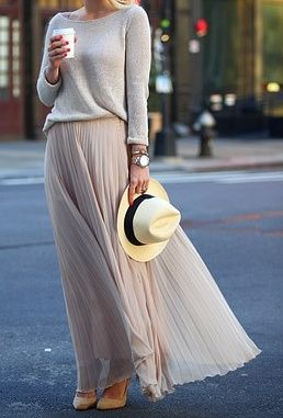 5a37c6b867901f Pleated skirts are everywhere at thrift stores. Pair with linen sweater to  recreate this easy summer look.