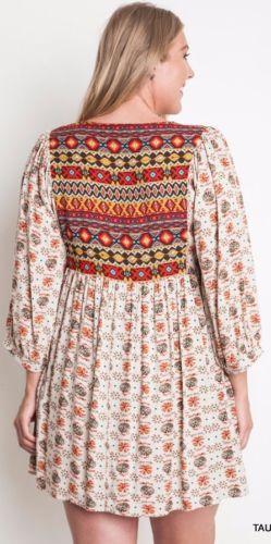 0260283d62c Umgee-Plus-Size-Tribal-Baby-Doll-Dress-Western-Empire-Waist-Taupe-Mix-WA0001   Unique Boho Style