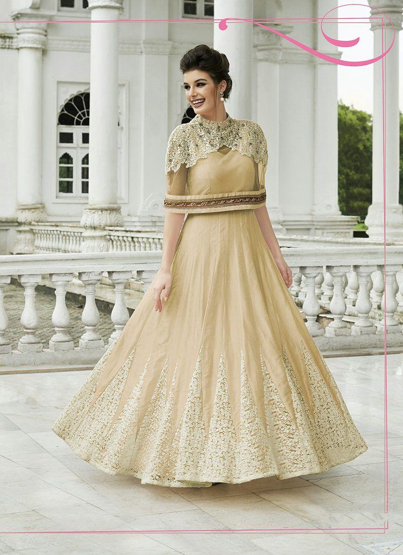 MODERN BEIGE INDO WESTERN DESIGNER GOWN | Designer Gowns ...