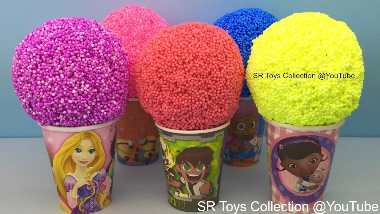 Foam Clay Balls Surprise Eggs Disney Princess Trolls Sofia the First Spi...