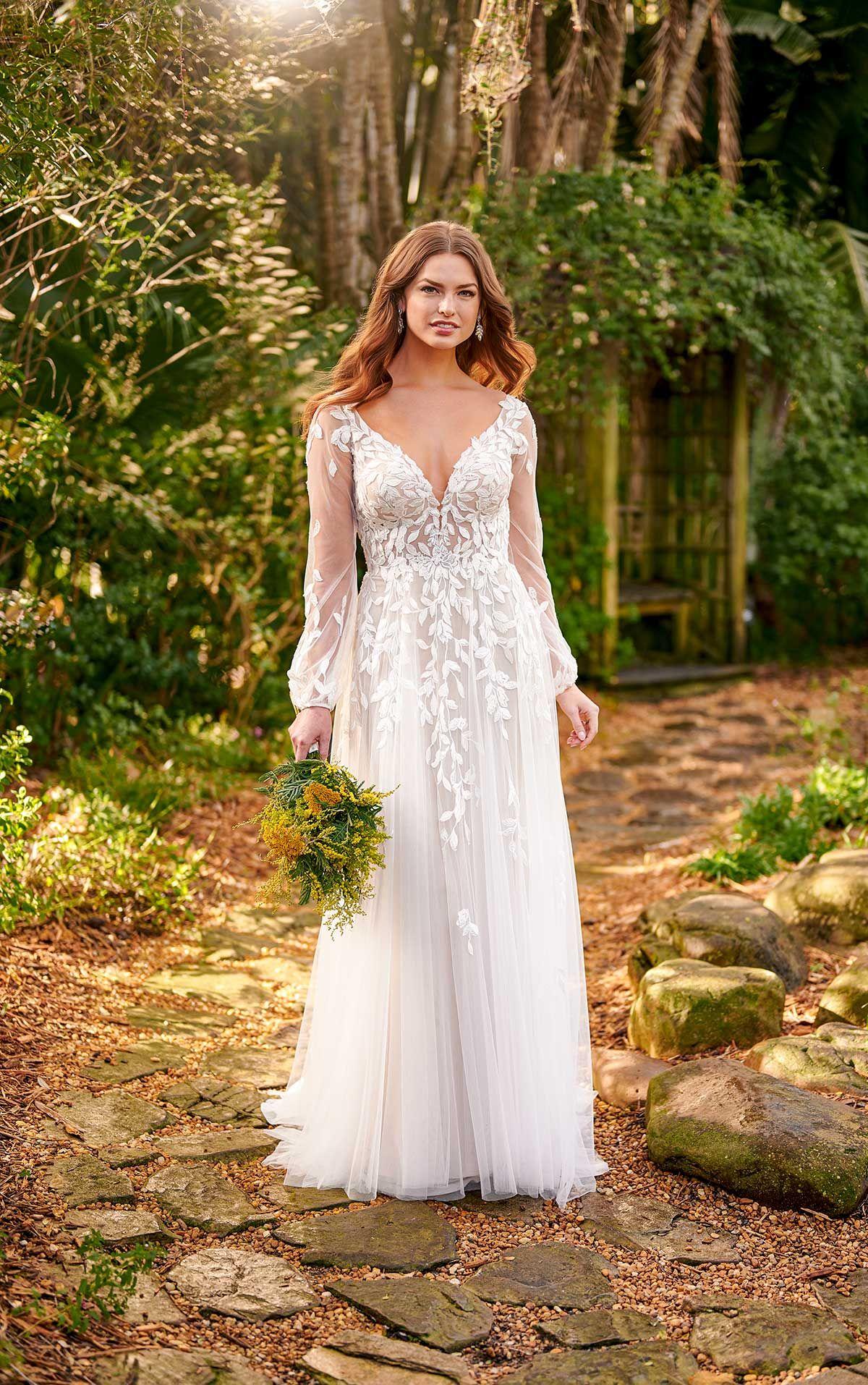 Sheer BohoStyle Wedding Dress with Bell Sleeves ALine