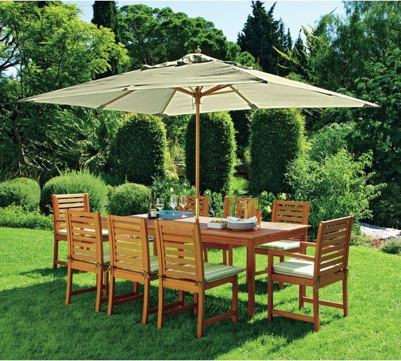 Collection Madison 8 Seater Wooden Patio Set Green At Argos Co Uk