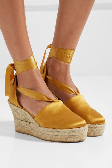 fd507f7bb3e Wedge heel measures approximately 90mm  3.5 inches with a 40mm  1.5 inch  platform Saffron satin Ties at ankle Designer color  Golden Fry Imported