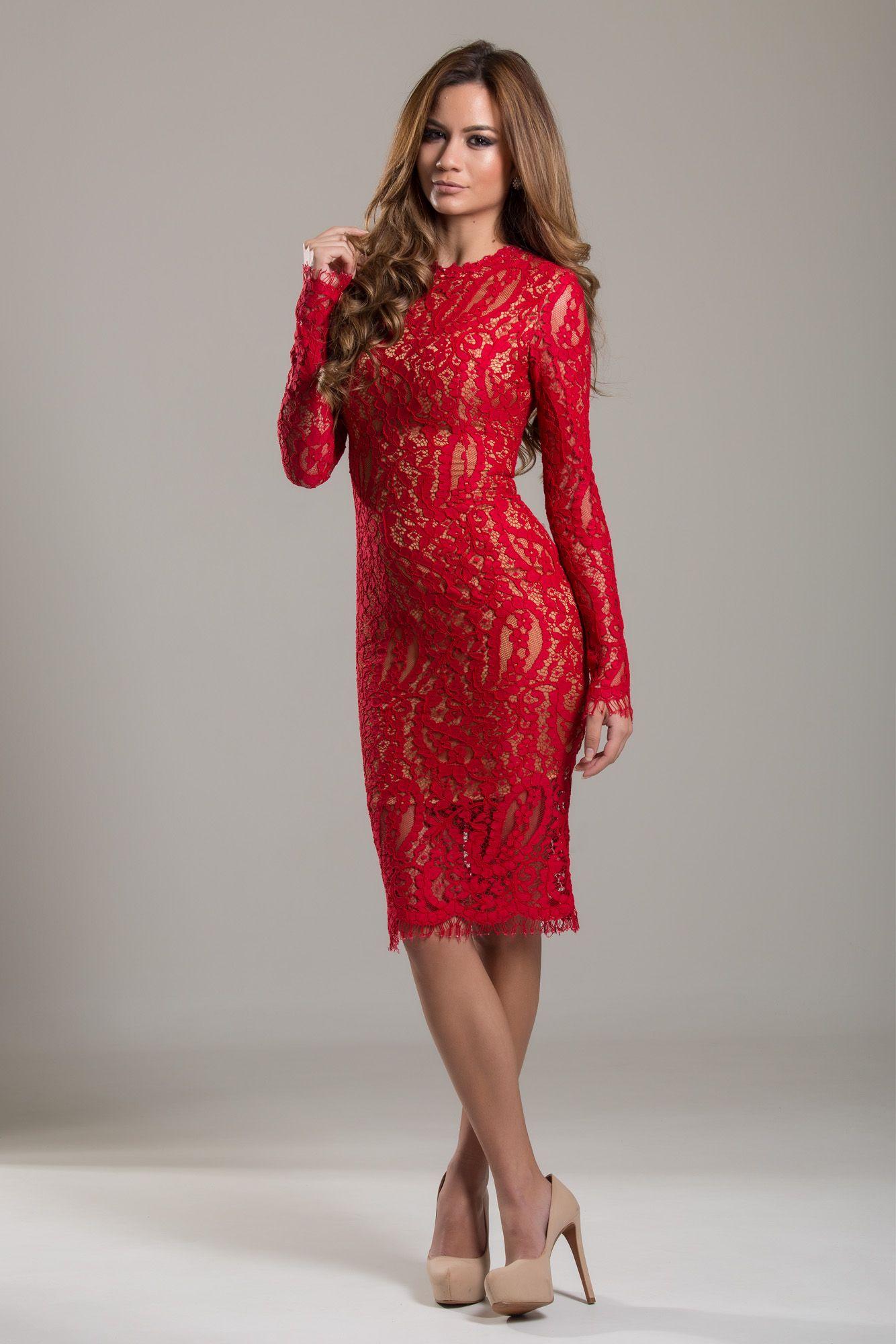 91a5ec0f1 Midi Fabulous - Vestido midi Vermelho com manga de renda especial para  aluguel de formatura e convidada de casamento no inverno.