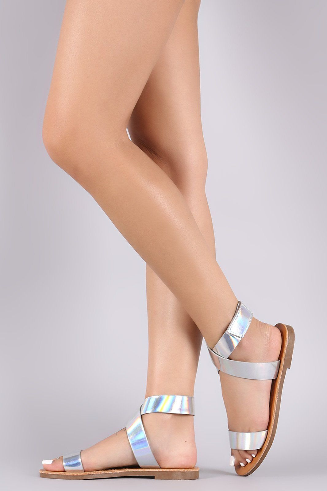 3e9e3529b47 Metallic Crisscross Ankle Strap Flat Sandal