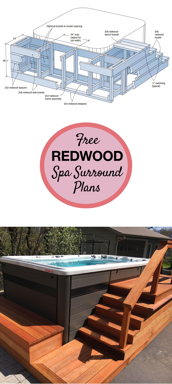 Free Redwood Spa Surround Plans Backyard Buildings Diy Hot Tub Hot Tub Surround