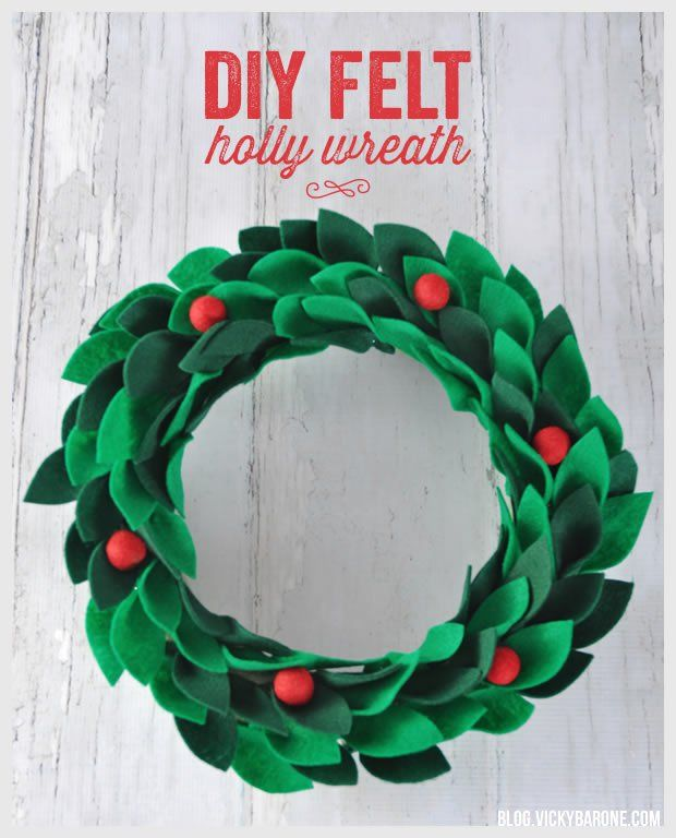 DIY Felt Holly Wreath | Vicky Barone