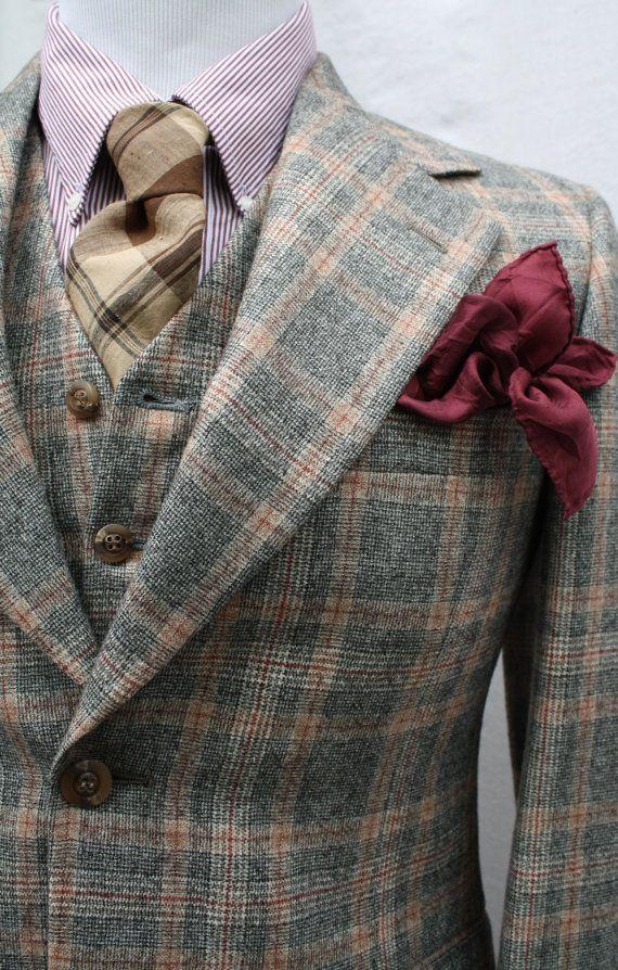 Mens Vintage 3 Piece Glen Plaid Suit by ViVifyVintage