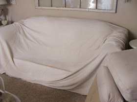 No Sew Drop Cloth Couch Cover