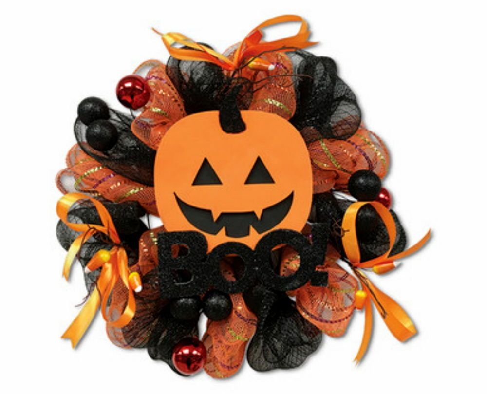 Jack O Lantern Orange Black Metallic Halloween Wall Hanging ...