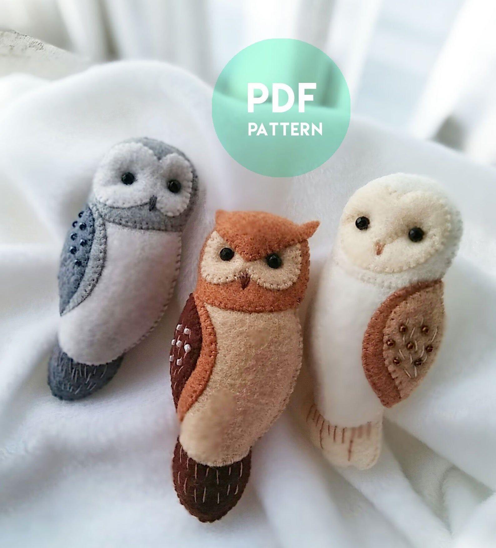 Buy 3 Get 1 Free Owl Brooch Ornaments Soft Toy Pdf Patterns Etsy Felt Crafts Patterns Felt Owls Felt Owl