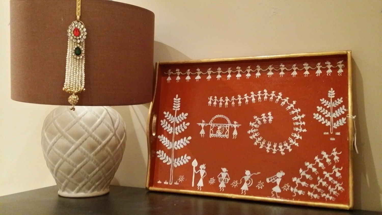 Hand painted Wooden Warli Tray by GAPGallery on Etsy | Art ...