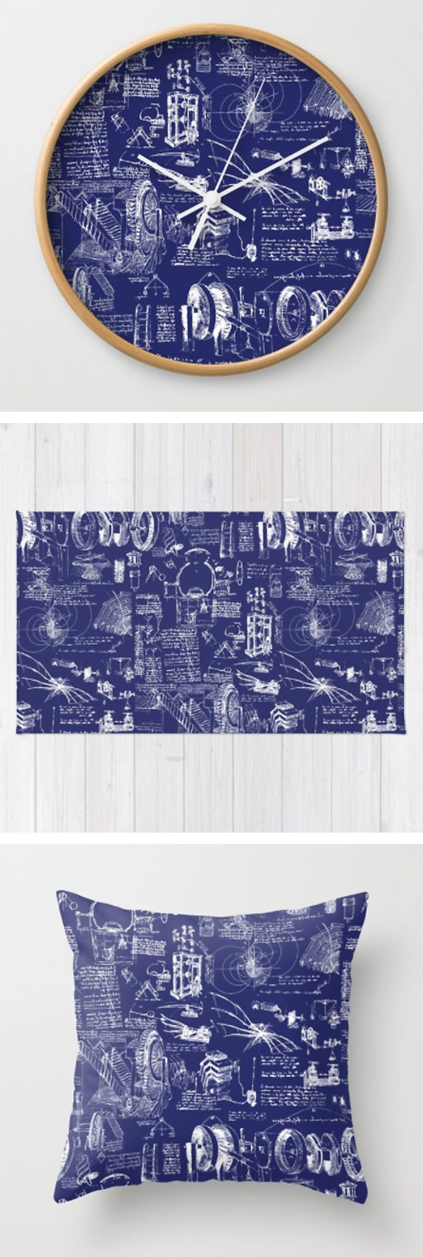 Da vincis sketchbook dark blue by thin line studio da vincis da vincis sketchbook dark blue by thin line studio da vincis blueprint drawings in white and blue on wall clocks throw pillows and rugs malvernweather Choice Image