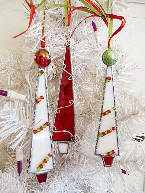 Stained Glass Christmas Tree Whimsical Red and White by miloglass, $25.00 - Stained Glass Christmas Tree Whimsical Red And White By Miloglass