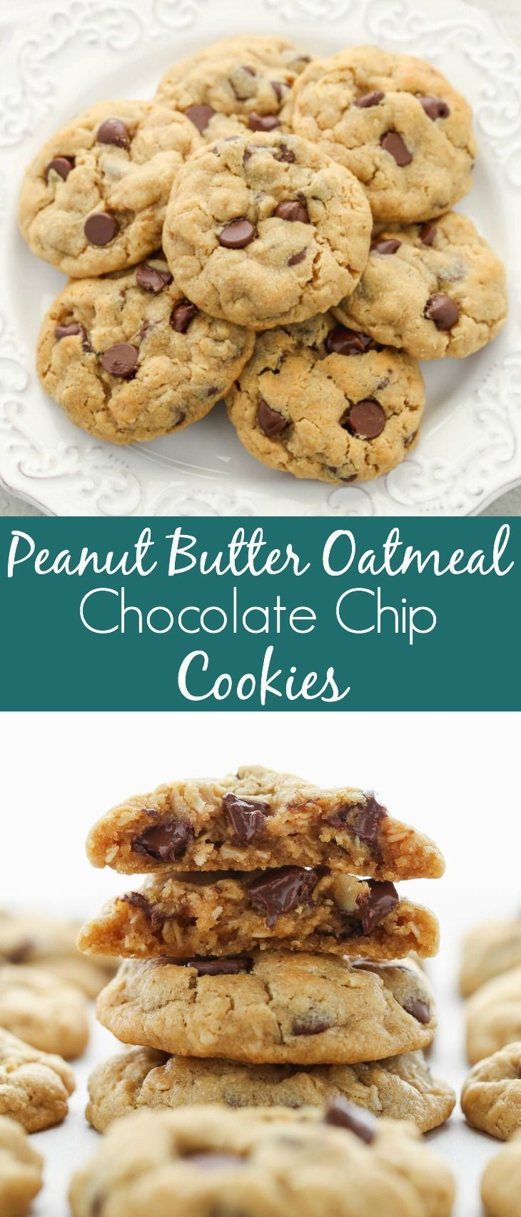 Soft Peanut Butter Oatmeal Chocolate Chip Cookies