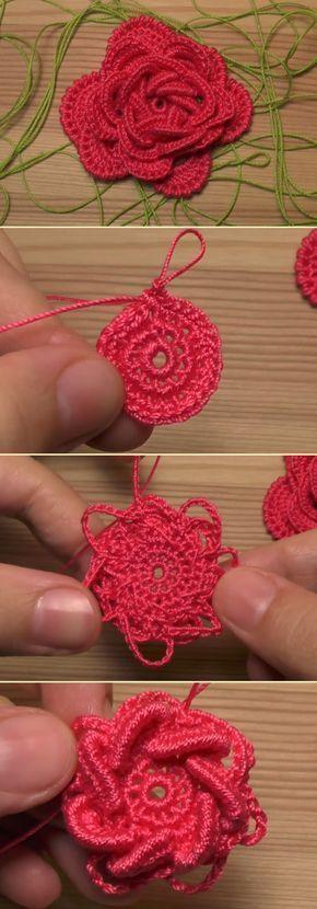 How To Crochet Flower Rose #crochetedflowers