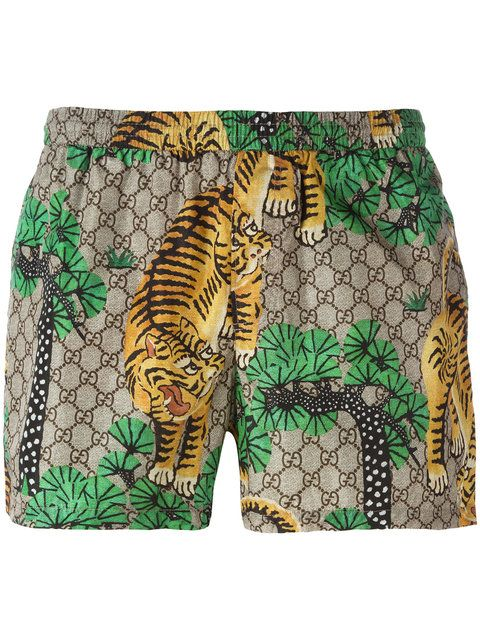 caadb1b377a5e Shop Gucci Gucci Bengal swim shorts. | Fashion | Swim shorts, Mens ...