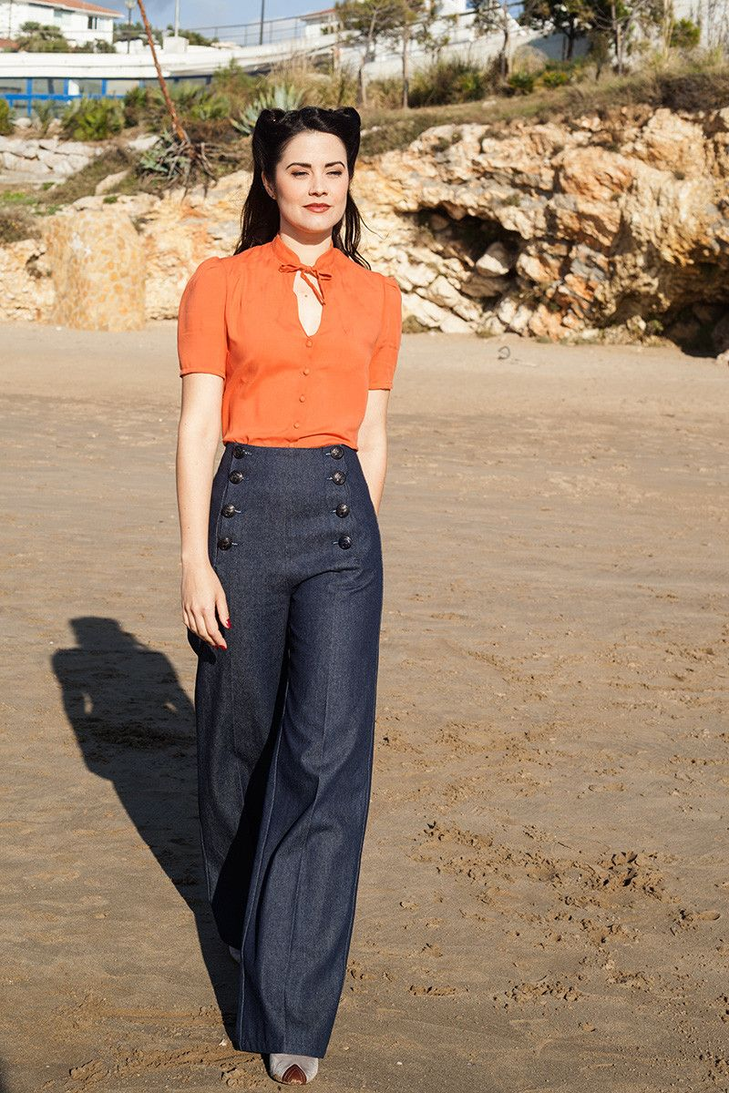 Women 39 S 1940s Style Pants Overalls Blue Jeans 1940s Sailor And Vintage