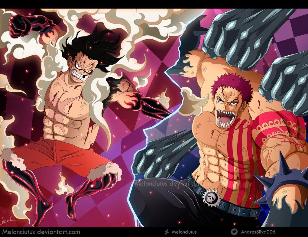 Monkey D Luffy Vs Charlotte Katakuri By Melonciutus Luffy Vs Luffy Vs Katakuri One Piece Fanart
