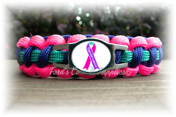 Thyroid Cancer Awareness Paracord Bracelet By Fordscordandsupplies 15 50