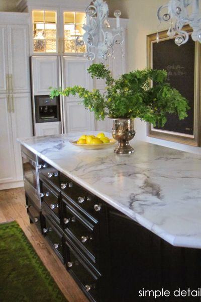 Exceptionnel Calacatta Marble 180fx Formica Countertops Look Like Marble With Less  Maintenance. Shown On Black Painted Kitchen Cabinet