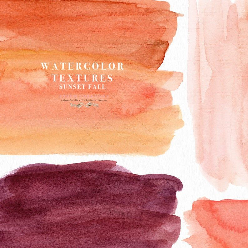 Burnt Orange Pink Burgundy Watercolor Splash Clipart Brush