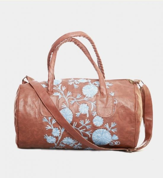 Pure Leather Handbag With Fl Pattern Online Ping India Shoulder Bags Best Price