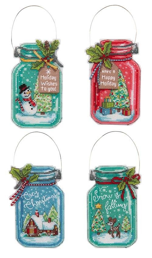Christmas Jar Counted Cross Stitch Ornaments Kit Cross Stitch Christmas Ornaments Cross Stitch Charts Cross Stitch Embroidery