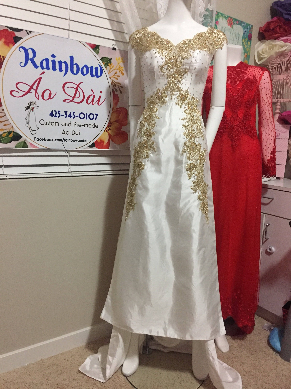 Vietnamese Traditional Ao Dai Rainbow White Cream M