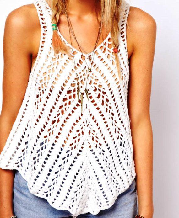Crochet top boho patrón instrucciones en por FavoritePATTERNs   Easy ...